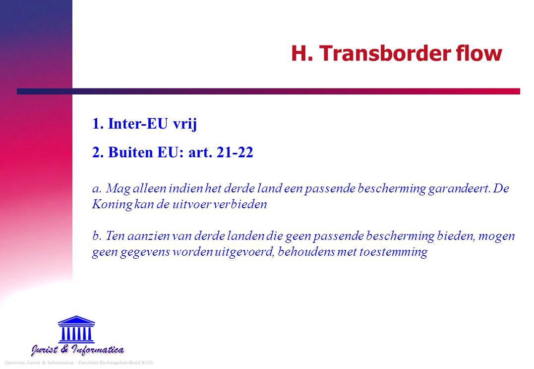 H. Transborder flow 1. Inter-EU vrij 2. Buiten EU: art. 21-22 a. Mag alleen indien het derde land een passende bescherming garandeert. De Koning kan d