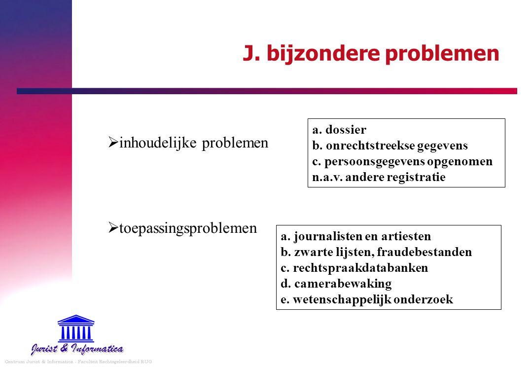 J. bijzondere problemen  inhoudelijke problemen  toepassingsproblemen a. dossier b. onrechtstreekse gegevens c. persoonsgegevens opgenomen n.a.v. an