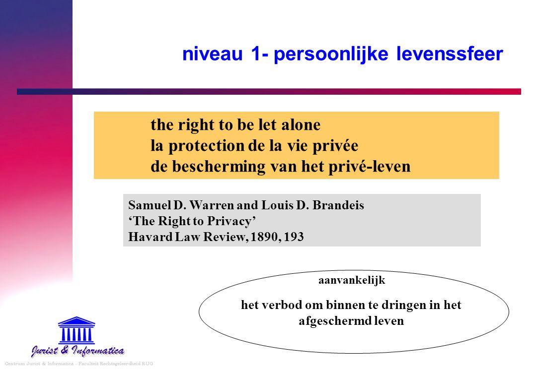 niveau 1- persoonlijke levenssfeer the right to be let alone la protection de la vie privée de bescherming van het privé-leven het verbod om binnen te dringen in het afgeschermd leven aanvankelijk Samuel D.
