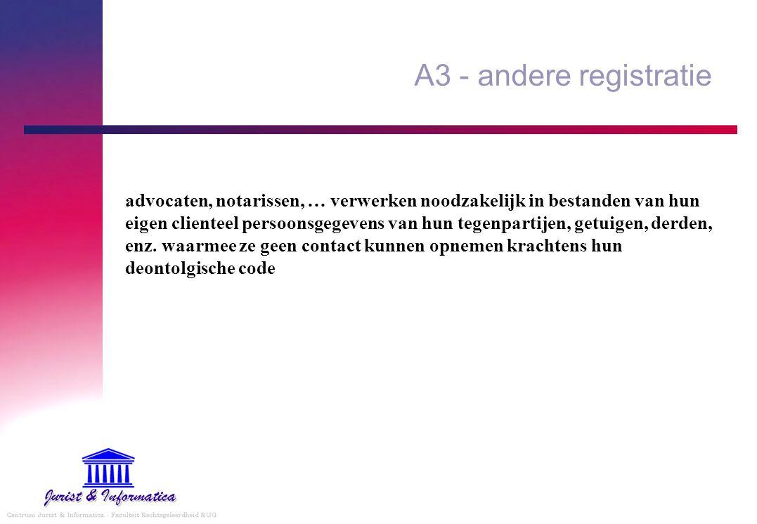 A3 - andere registratie advocaten, notarissen, … verwerken noodzakelijk in bestanden van hun eigen clienteel persoonsgegevens van hun tegenpartijen, g