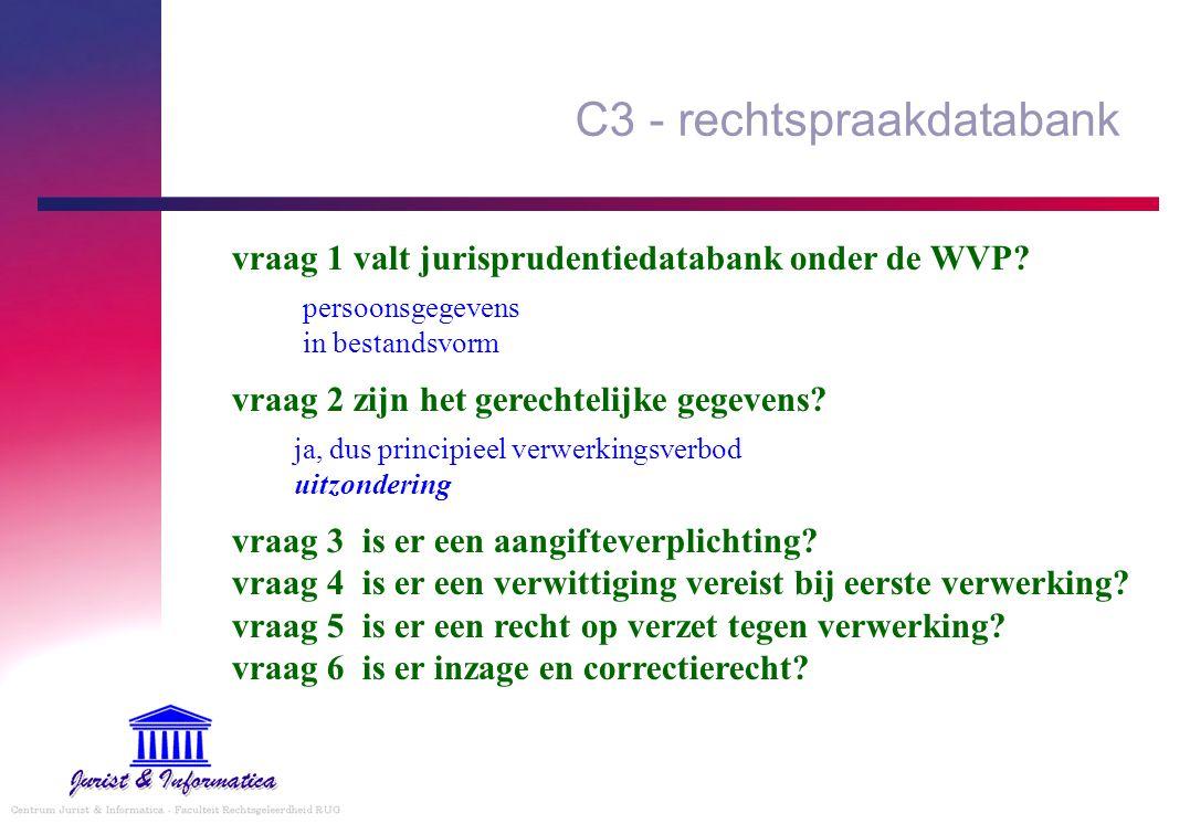 C3 - rechtspraakdatabank ja, dus principieel verwerkingsverbod uitzondering vraag 1 valt jurisprudentiedatabank onder de WVP? persoonsgegevens in best