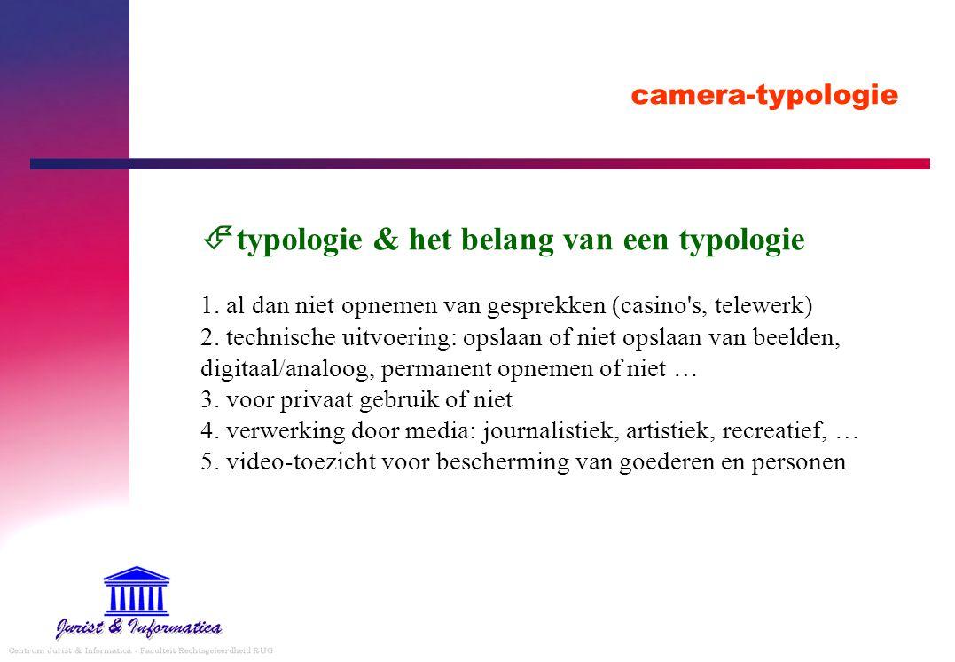 camera-typologie  typologie & het belang van een typologie 1. al dan niet opnemen van gesprekken (casino's, telewerk) 2. technische uitvoering: opsla