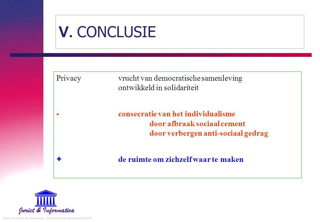 V. CONCLUSIE Privacyvrucht van democratische samenleving ontwikkeld in solidariteit - consecratie van het individualisme door afbraak sociaal cement d