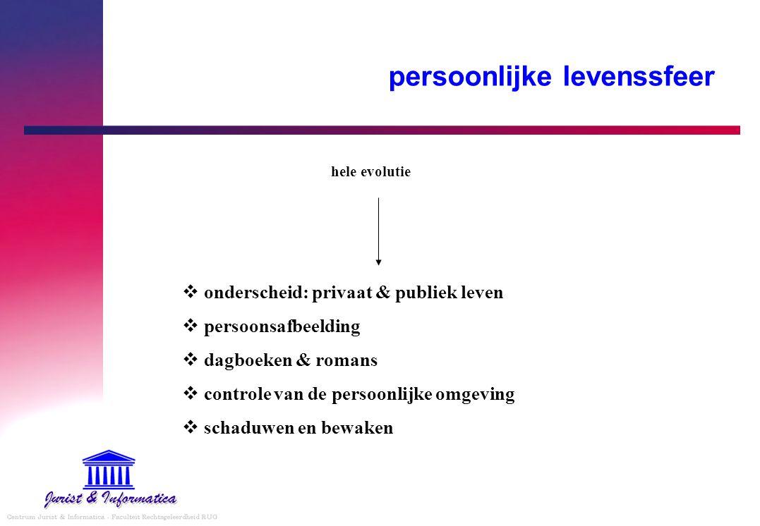 persoonlijke levenssfeer  onderscheid: privaat & publiek leven  persoonsafbeelding  dagboeken & romans  controle van de persoonlijke omgeving  schaduwen en bewaken hele evolutie