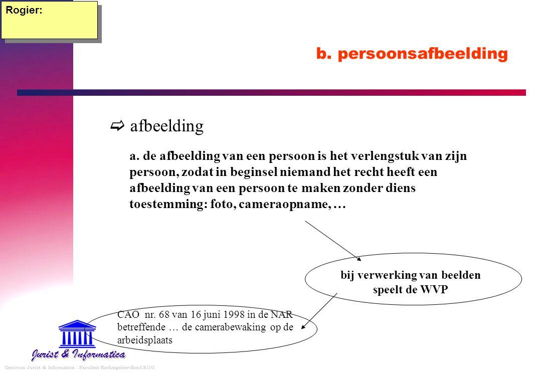 b. persoonsafbeelding  afbeelding Rogier: a. de afbeelding van een persoon is het verlengstuk van zijn persoon, zodat in beginsel niemand het recht h