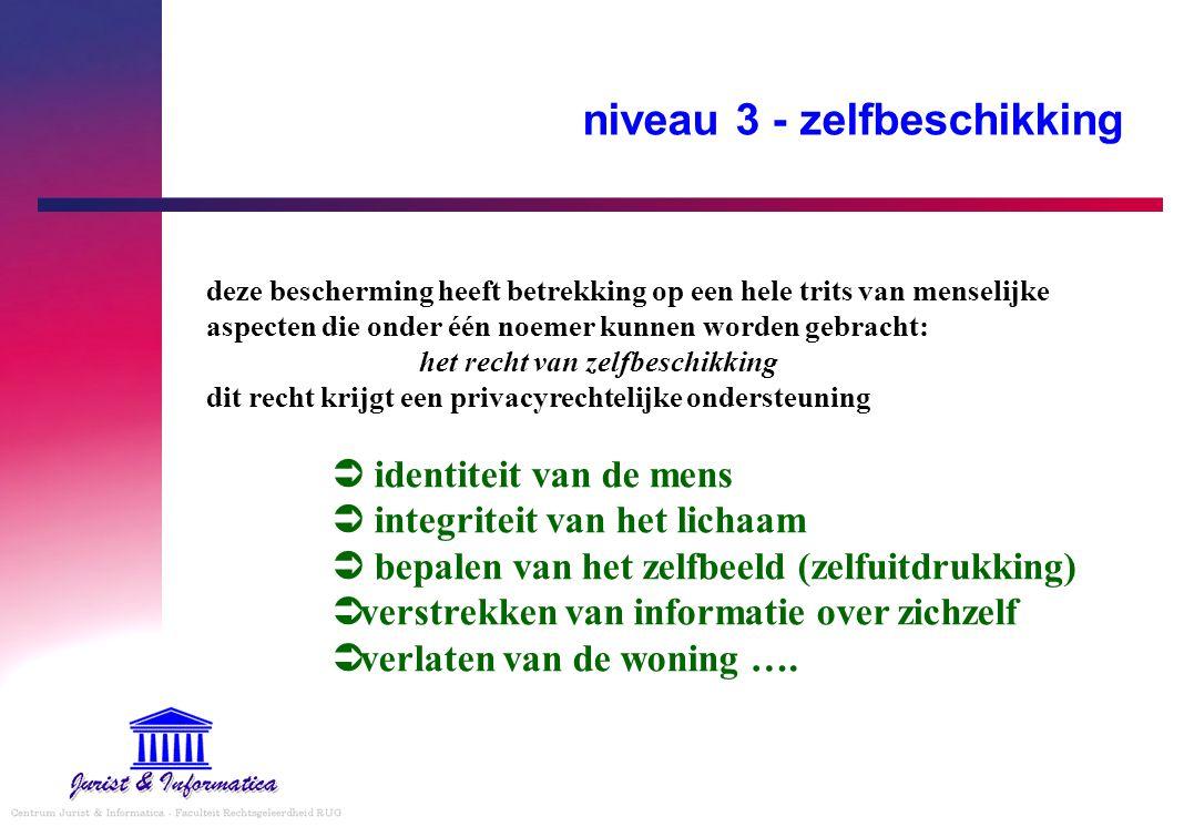 niveau 3 - zelfbeschikking  identiteit van de mens  integriteit van het lichaam  bepalen van het zelfbeeld (zelfuitdrukking)  verstrekken van info