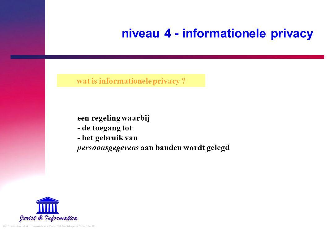 niveau 4 - informationele privacy wat is informationele privacy ? een regeling waarbij - de toegang tot - het gebruik van persoonsgegevens aan banden