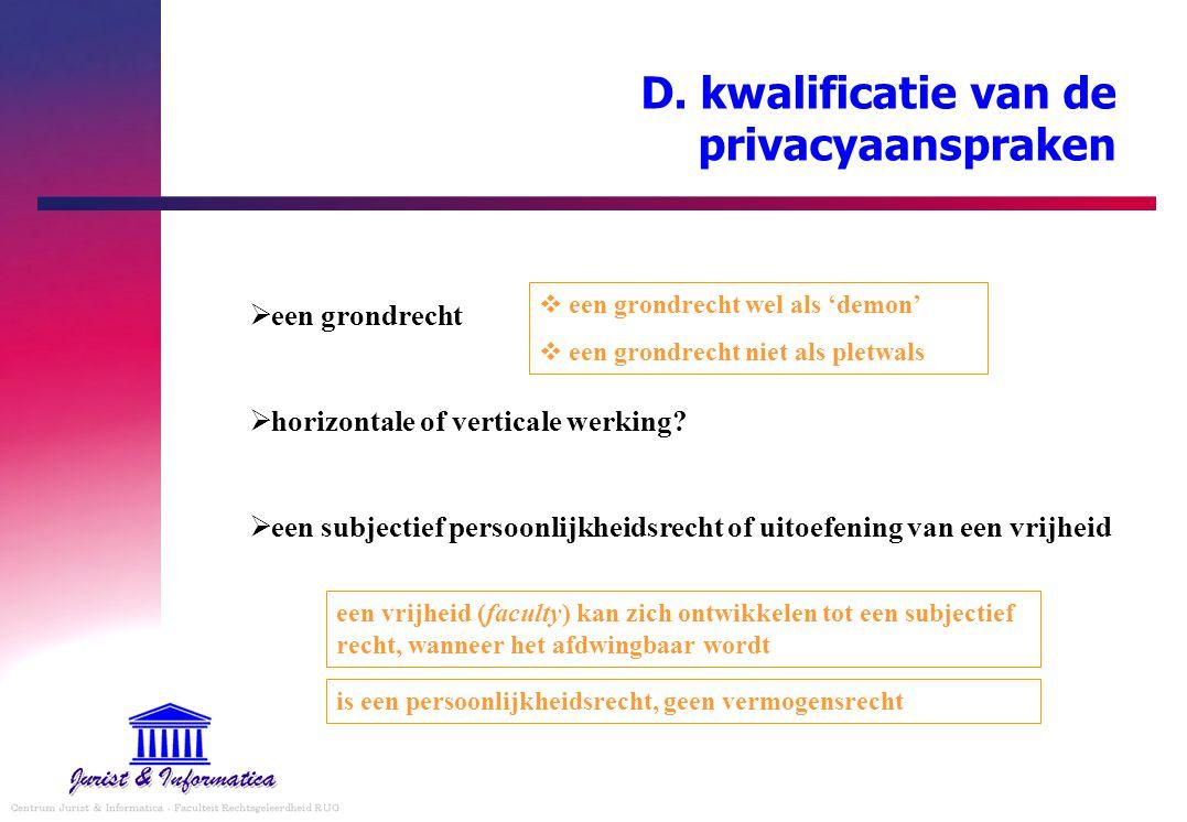 D. kwalificatie van de privacyaanspraken  een grondrecht  horizontale of verticale werking?  een subjectief persoonlijkheidsrecht of uitoefening va
