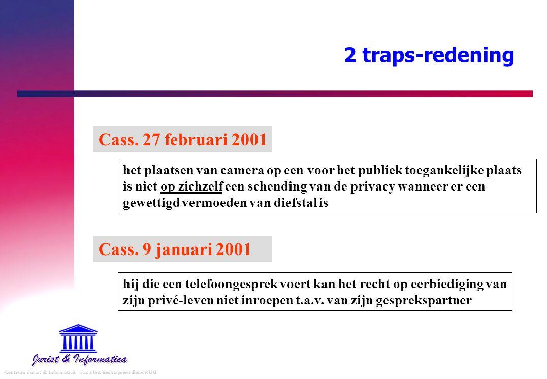 2 traps-redening Cass. 9 januari 2001 het plaatsen van camera op een voor het publiek toegankelijke plaats is niet op zichzelf een schending van de pr