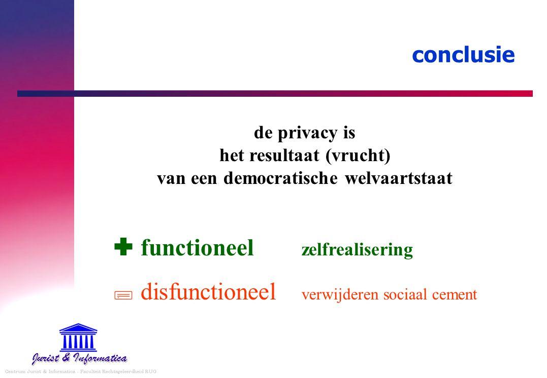 conclusie de privacy is het resultaat (vrucht) van een democratische welvaartstaat  functioneel zelfrealisering  disfunctioneel verwijderen sociaal cement