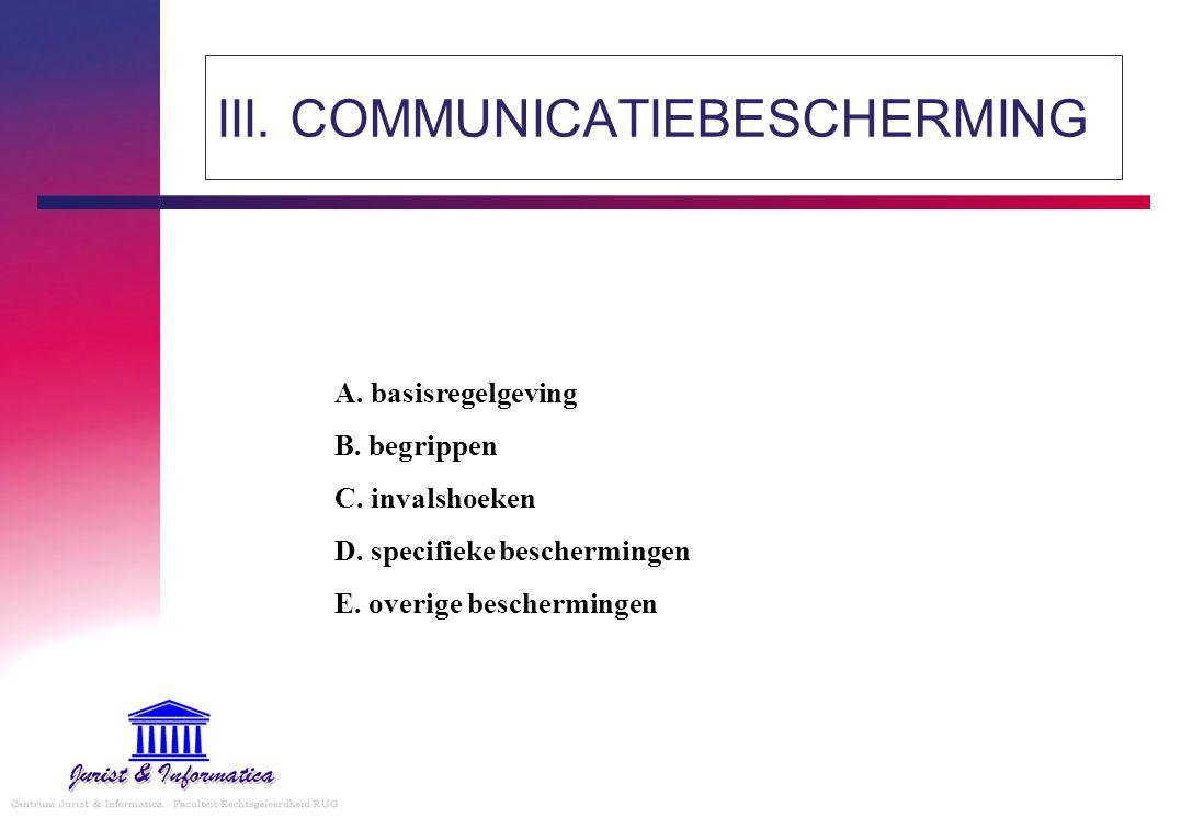 III. COMMUNICATIEBESCHERMING A. basisregelgeving B. begrippen C. invalshoeken D. specifieke beschermingen E. overige beschermingen