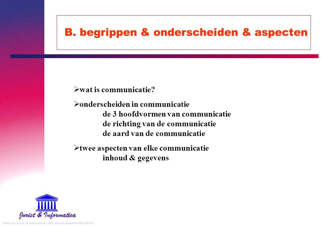 B. begrippen & onderscheiden & aspecten  wat is communicatie?  onderscheiden in communicatie de 3 hoofdvormen van communicatie de richting van de co