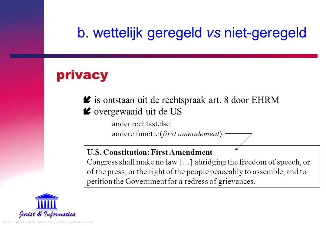 b. wettelijk geregeld vs niet-geregeld privacy  is ontstaan uit de rechtspraak art. 8 door EHRM  overgewaaid uit de US ander rechtsstelsel andere fu