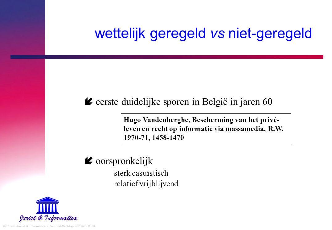wettelijk geregeld vs niet-geregeld  eerste duidelijke sporen in België in jaren 60  oorspronkelijk sterk casuïstisch relatief vrijblijvend Hugo Van