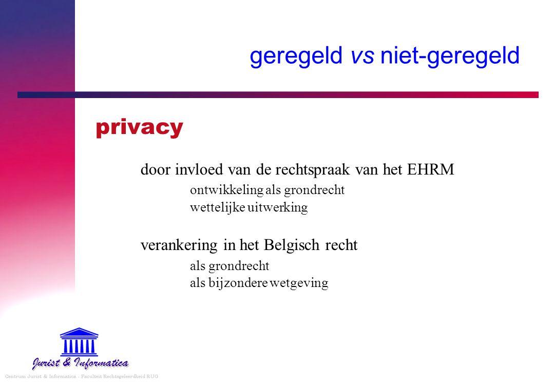 geregeld vs niet-geregeld privacy door invloed van de rechtspraak van het EHRM ontwikkeling als grondrecht wettelijke uitwerking verankering in het Be