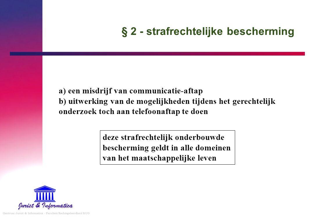 § 2 - strafrechtelijke bescherming a) een misdrijf van communicatie-aftap b) uitwerking van de mogelijkheden tijdens het gerechtelijk onderzoek toch a