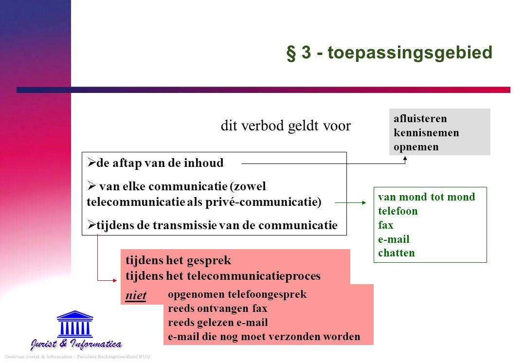 § 3 - toepassingsgebied dit verbod geldt voor  de aftap van de inhoud  van elke communicatie (zowel telecommunicatie als privé-communicatie)  tijde