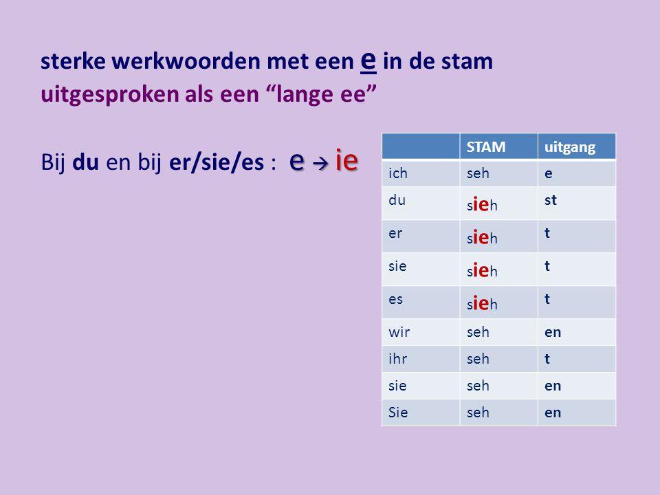 """sterke werkwoorden met een e in de stam uitgesproken als een """"lange ee"""" Bij du en bij er/sie/es : e  ie STAMuitgang ichsehe du s ie h st er s ie h t"""