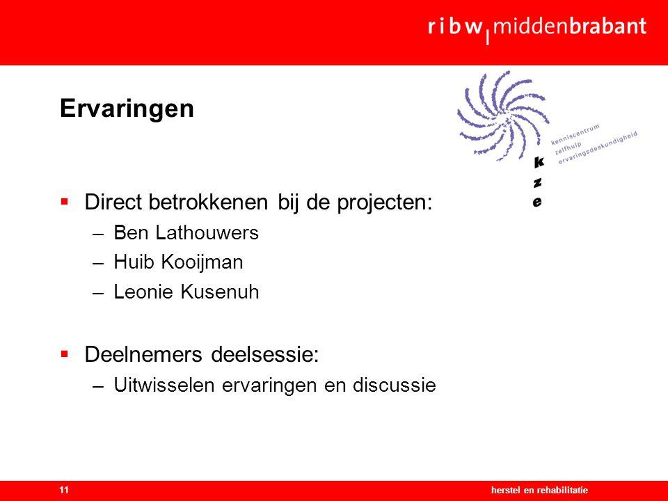 herstel en rehabilitatie11 Ervaringen  Direct betrokkenen bij de projecten: –Ben Lathouwers –Huib Kooijman –Leonie Kusenuh  Deelnemers deelsessie: –Uitwisselen ervaringen en discussie