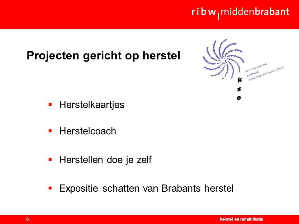 herstel en rehabilitatie6 Projecten gericht op herstel herstel en rehabilitatie6  Herstelkaartjes  Herstelcoach  Herstellen doe je zelf  Expositie schatten van Brabants herstel