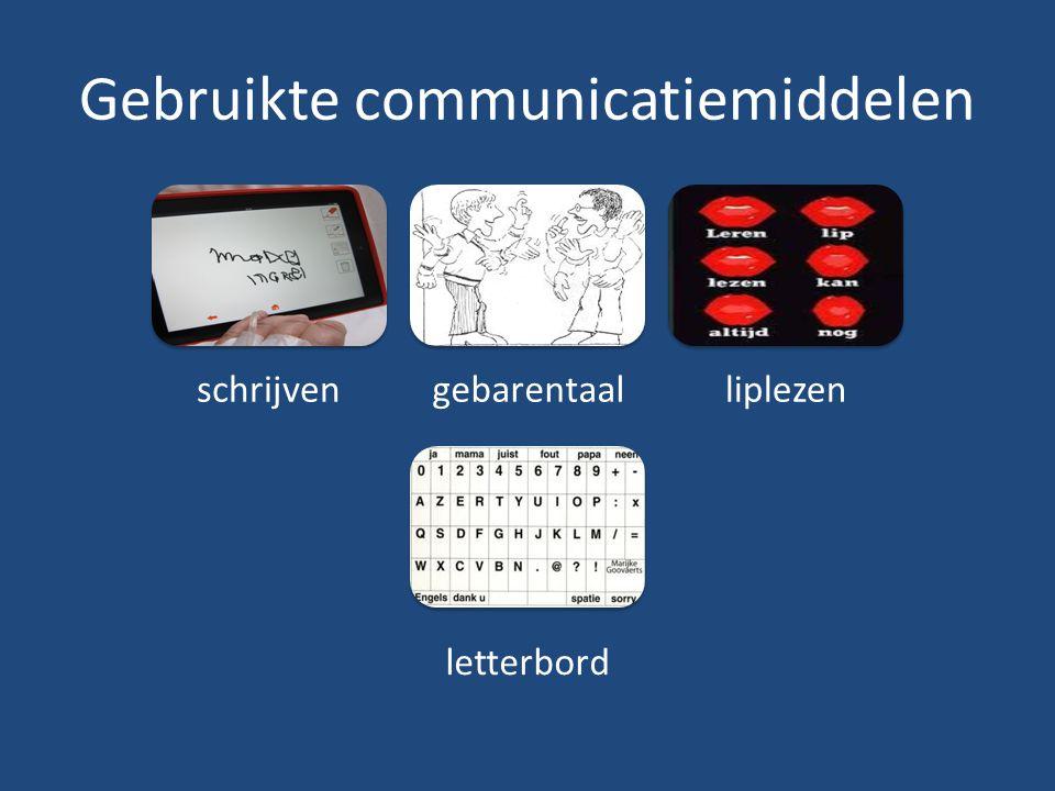 Gebruikte communicatiemiddelen schrijvengebarentaalliplezen letterbord