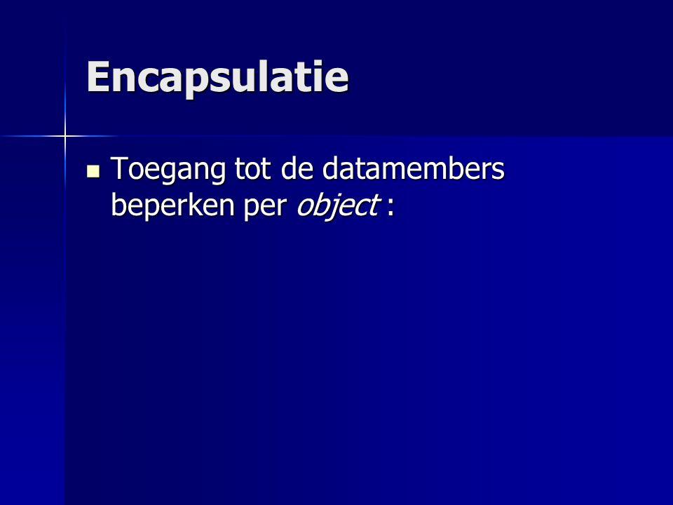 Encapsulatie Toegang tot de datamembers beperken per object : Toegang tot de datamembers beperken per object :