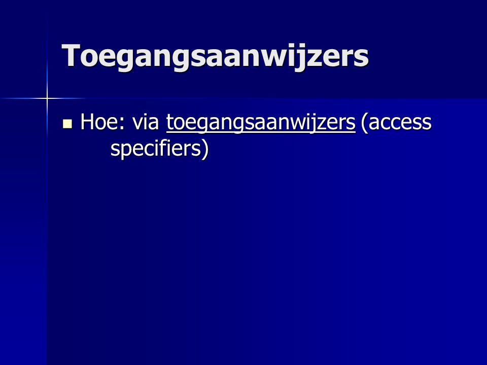 Toegangsaanwijzers Hoe: via toegangsaanwijzers (access specifiers) Hoe: via toegangsaanwijzers (access specifiers)