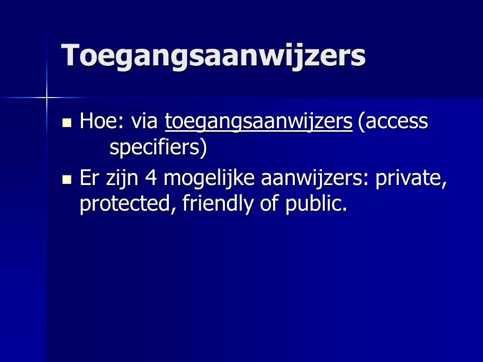 Voorbeeld public class Fraggle { private int aantalVingers; boolean isZichtbaar; protected double aantalTenen; public String naam; }