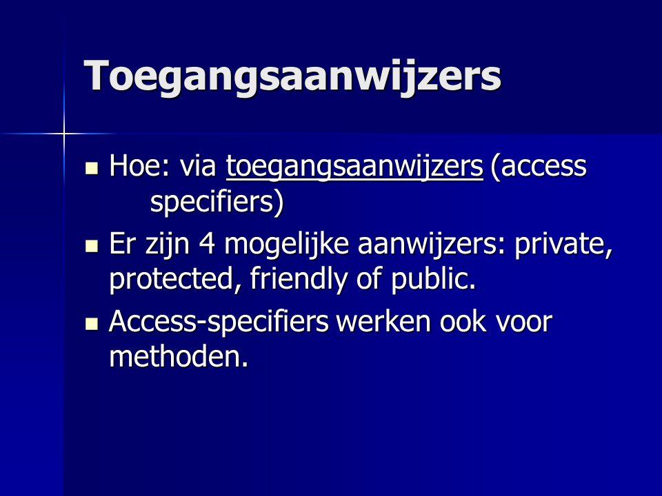 Toegangsaanwijzers Hoe: via toegangsaanwijzers (access specifiers) Hoe: via toegangsaanwijzers (access specifiers) Er zijn 4 mogelijke aanwijzers: private, protected, friendly of public.