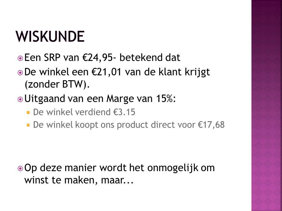 Een SRP van €24,95- betekend dat  De winkel een €21,01 van de klant krijgt (zonder BTW).  Uitgaand van een Marge van 15%:  De winkel verdiend €3.