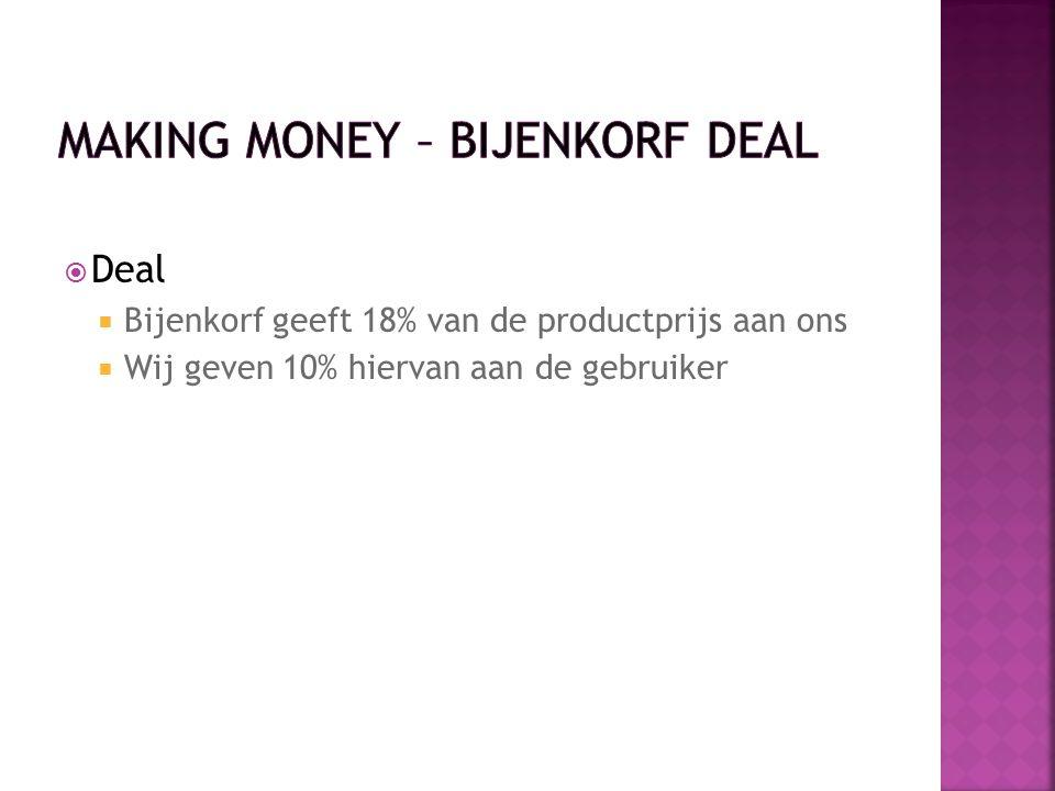  Deal  Bijenkorf geeft 18% van de productprijs aan ons  Wij geven 10% hiervan aan de gebruiker