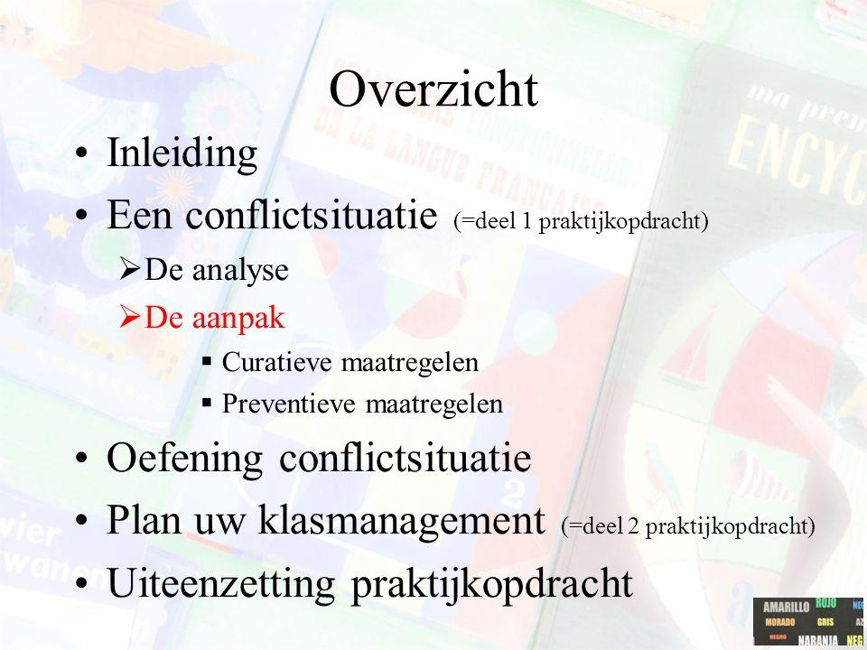 Overzicht Inleiding Een conflictsituatie (=deel 1 praktijkopdracht)  De analyse  De aanpak  Curatieve maatregelen  Preventieve maatregelen Oefenin