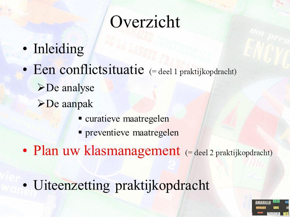 Overzicht Inleiding Een conflictsituatie (= deel 1 praktijkopdracht)  De analyse  De aanpak  curatieve maatregelen  preventieve maatregelen Plan u