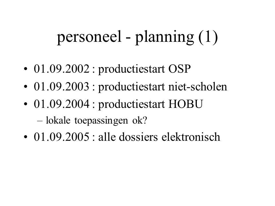 personeel - planning (1) 01.09.2002 : productiestart OSP 01.09.2003 : productiestart niet-scholen 01.09.2004 : productiestart HOBU –lokale toepassingen ok.