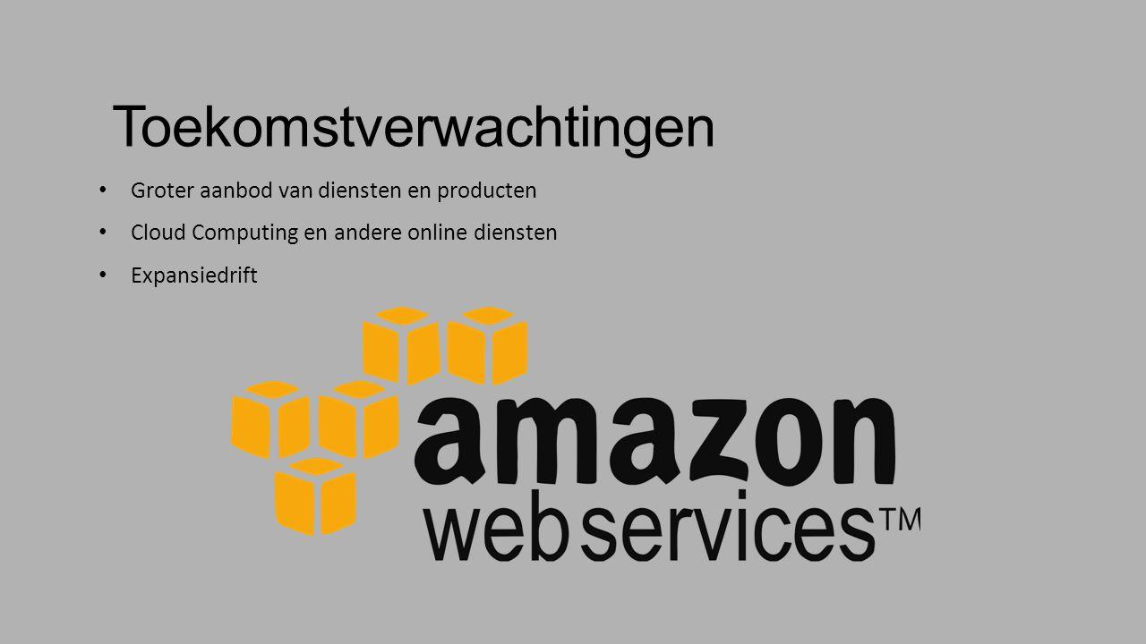 Toekomstverwachtingen Groter aanbod van diensten en producten Cloud Computing en andere online diensten Expansiedrift