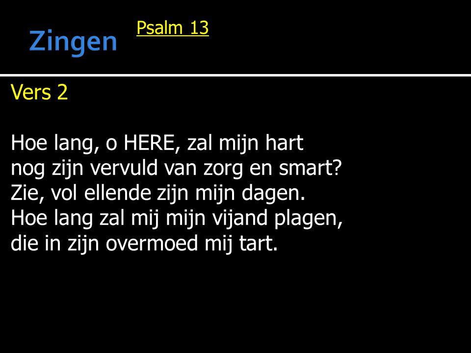 Psalm 13 Vers 2 Hoe lang, o HERE, zal mijn hart nog zijn vervuld van zorg en smart? Zie, vol ellende zijn mijn dagen. Hoe lang zal mij mijn vijand pla