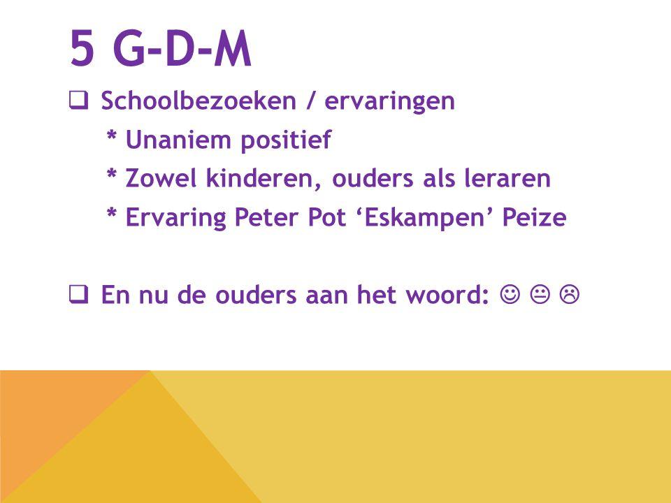 5 G-D-M  Schoolbezoeken / ervaringen * Unaniem positief * Zowel kinderen, ouders als leraren * Ervaring Peter Pot 'Eskampen' Peize  En nu de ouders