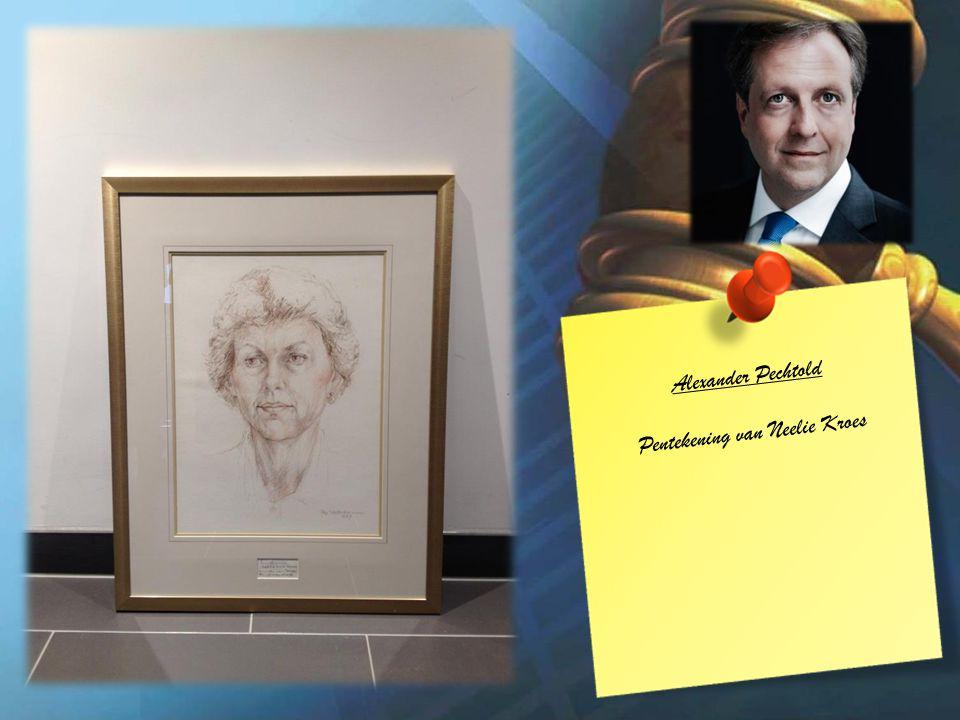 Alexander Pechtold Pentekening van Neelie Kroes