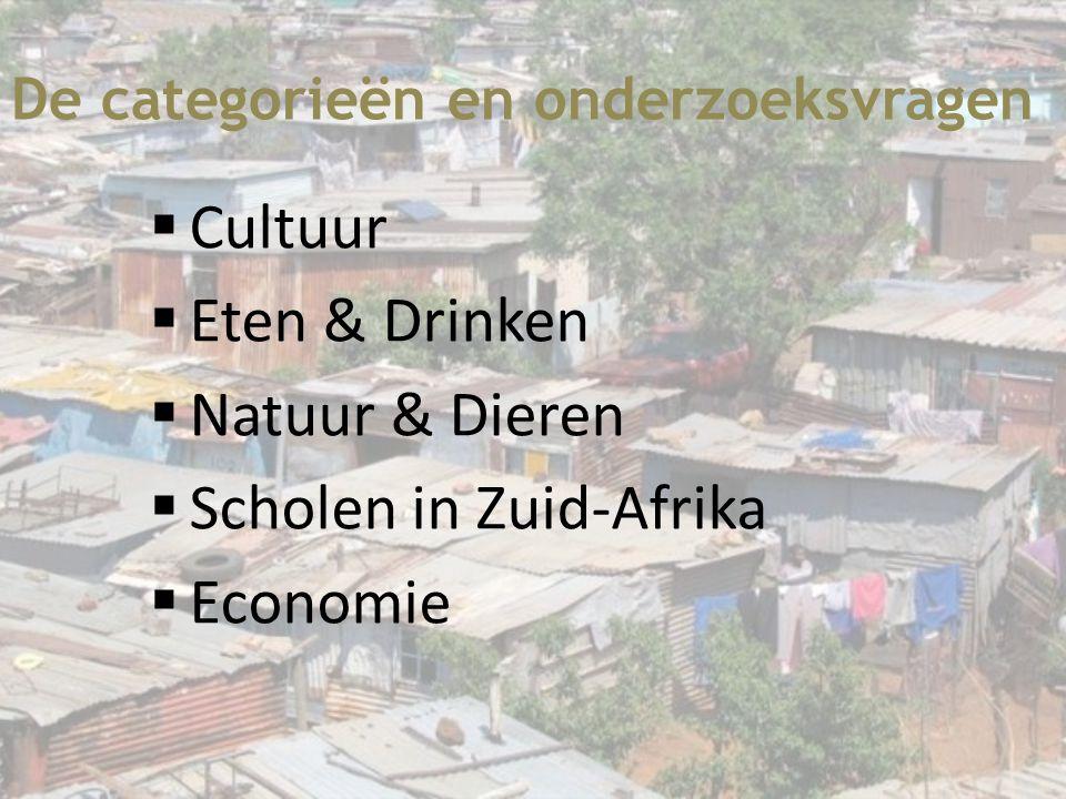 De categorieën en onderzoeksvragen  Cultuur  Eten & Drinken  Natuur & Dieren  Scholen in Zuid-Afrika  Economie