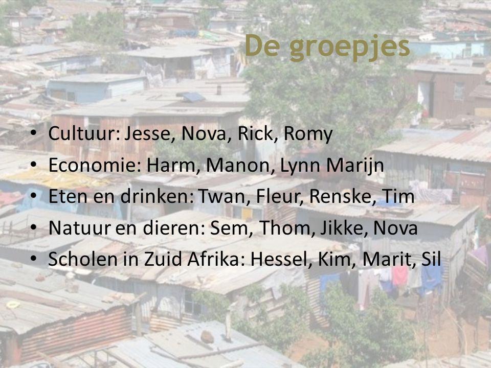 De groepjes Cultuur: Jesse, Nova, Rick, Romy Economie: Harm, Manon, Lynn Marijn Eten en drinken: Twan, Fleur, Renske, Tim Natuur en dieren: Sem, Thom,