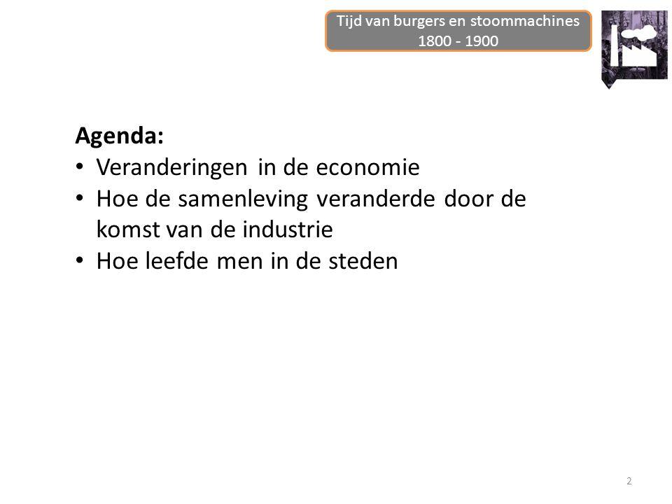 2 Agenda: Veranderingen in de economie Hoe de samenleving veranderde door de komst van de industrie Hoe leefde men in de steden Tijd van burgers en st