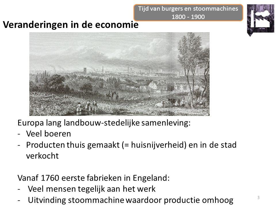 3 Veranderingen in de economie Tijd van burgers en stoommachines 1800 - 1900 Europa lang landbouw-stedelijke samenleving: -Veel boeren -Producten thui