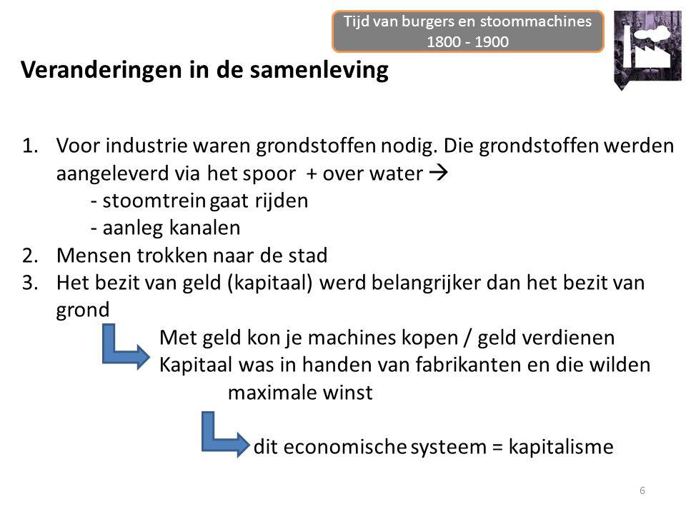 6 Veranderingen in de samenleving Tijd van burgers en stoommachines 1800 - 1900 1.Voor industrie waren grondstoffen nodig. Die grondstoffen werden aan