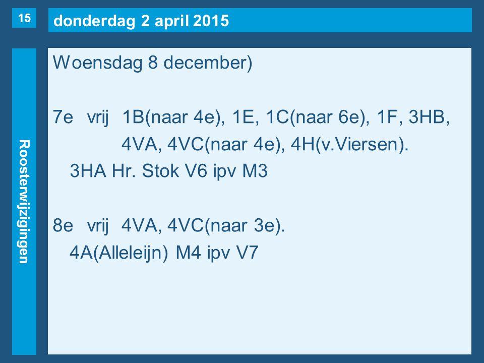 donderdag 2 april 2015 Roosterwijzigingen Woensdag 8 december) 7evrij1B(naar 4e), 1E, 1C(naar 6e), 1F, 3HB, 4VA, 4VC(naar 4e), 4H(v.Viersen). 3HA Hr.