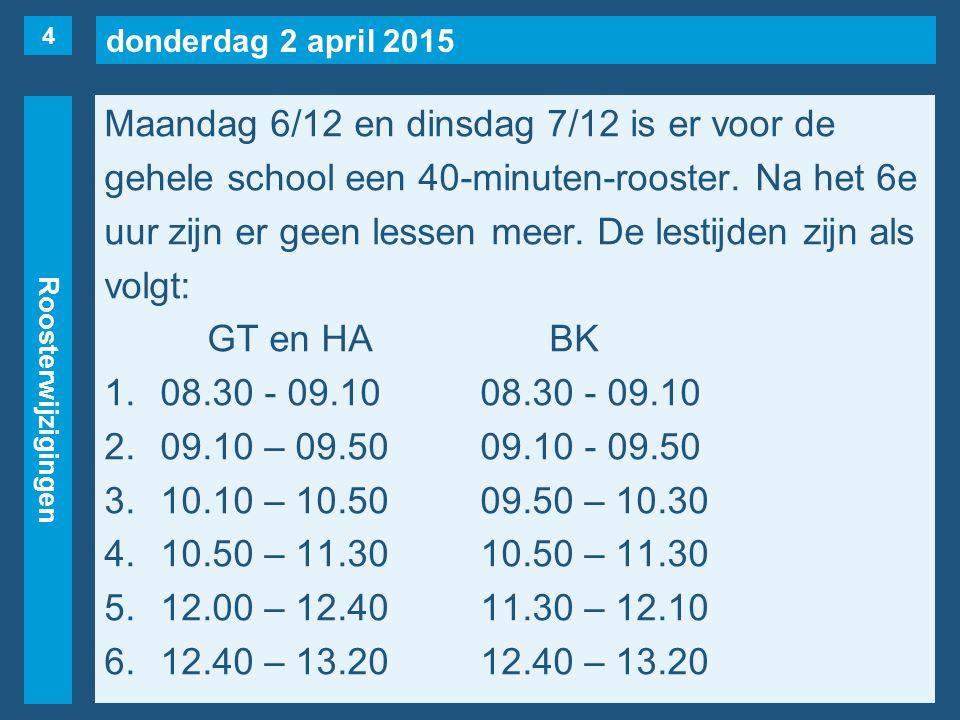 donderdag 2 april 2015 Roosterwijzigingen Maandag 6/12 en dinsdag 7/12 is er voor de gehele school een 40-minuten-rooster. Na het 6e uur zijn er geen