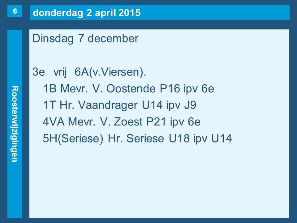 donderdag 2 april 2015 Roosterwijzigingen Dinsdag 7 december 3evrij6A(v.Viersen). 1B Mevr. V. Oostende P16 ipv 6e 1T Hr. Vaandrager U14 ipv J9 4VA Mev