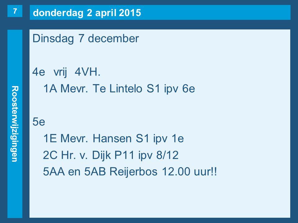 donderdag 2 april 2015 Roosterwijzigingen Dinsdag 7 december 6evrij1A(naar 4e), 1B(naar 3e), 2G, 4VA(naar 3e), 6A(v.