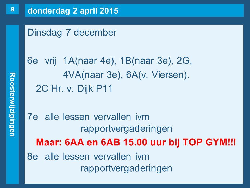 donderdag 2 april 2015 Roosterwijzigingen Dinsdag 7 december 6evrij1A(naar 4e), 1B(naar 3e), 2G, 4VA(naar 3e), 6A(v. Viersen). 2C Hr. v. Dijk P11 7eal