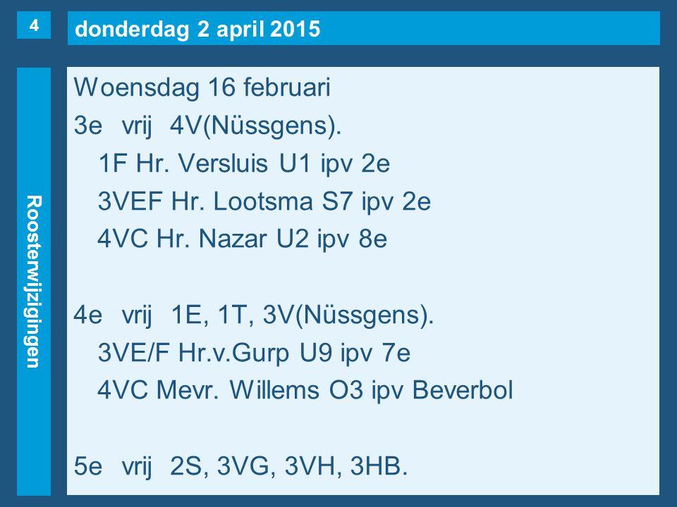 donderdag 2 april 2015 Roosterwijzigingen Woensdag 16 februari 3evrij4V(Nüssgens).