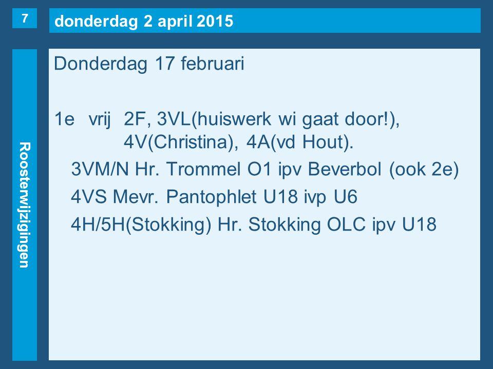 donderdag 2 april 2015 Roosterwijzigingen Donderdag 17 februari 2evrij2B(huiswerk wi gaat door!), 3VK/L(Vos), 4V(Christina).